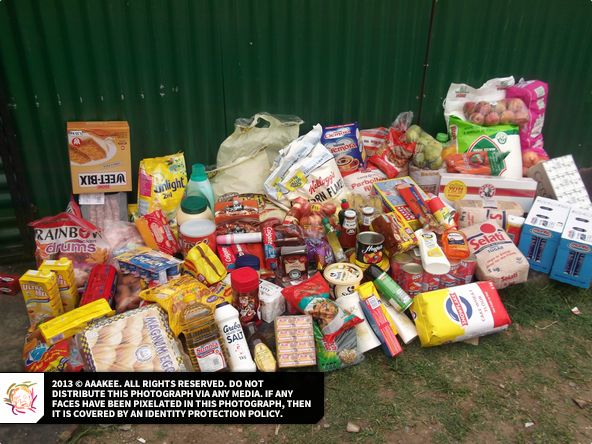 - Food and groceries donated to a needy family in Evaton, Gauteng