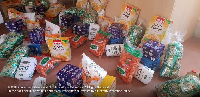 - Food parcels donated to the God Is Love Pentecostal Church